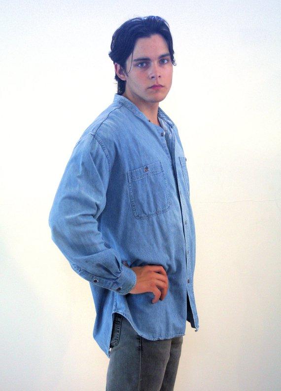 90s Denim Shirt Fashion